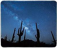 アートマウスパッド-夜の天の川の下でサボテンとソノラ砂漠で印刷された天然ゴム製マウスパッド-ステッチエッジ-9.5x7.9インチ