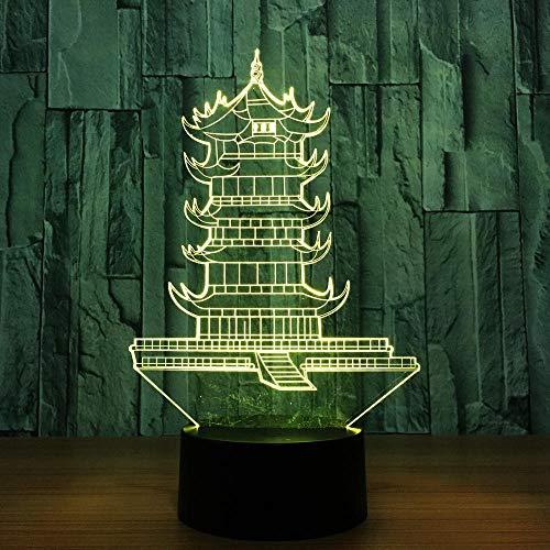 WAGUZA Yellow Tower Crane Modelo 3d Lámpara de interruptor táctil 7 colores que cambian Interior China Lámpara de mesa de construcción para amigo Mejor regalo