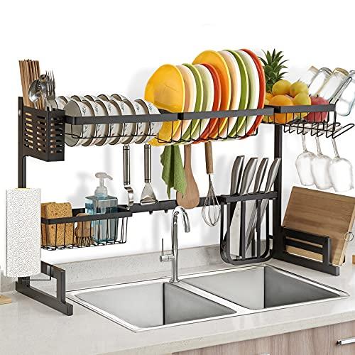 水切りラック調節可能な長さ(82.8-93CM)、アップグレード 食器 水切りペーパータオルホルダー付き、ステンレス鋼シンク上の食器乾燥ラックは台所の収納ボックス、省スペース流しラックに最適、多機能水切りカゴ 組み立てが簡単