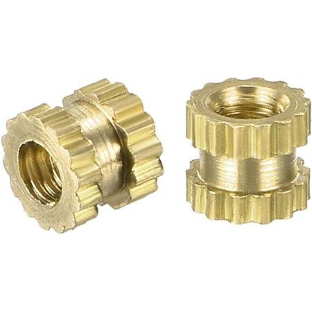 XJS Brass Knurled Threaded Round Insert Embedded Nuts M3x4x4.2mm 100 Pcs