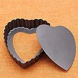 Forma di cuore Stringata Quiche Pan Antiaderente Torta Pan Bakeware Con fondo rimovibile E...