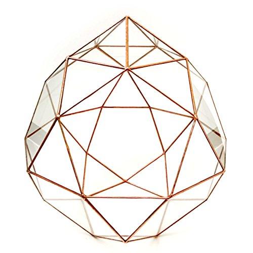 Lekoky Terrarium Icosidodécaèdre avec toit en verre géométrique - Pot de fleurs moderne - Fait à la main en Angleterre - Taille moyenne - Cuivre brillant