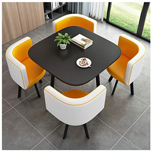 Modernes Design Esstisch Und Stuhl Set 4 Küchenmöbel Wohnzimmer Wohnung Schlafzimmer Studie Kreative Display Runden Tisch Einfaches Hotel Café Freizeit 80cm Holztisch 4 PU Ledersessel Metallbeine