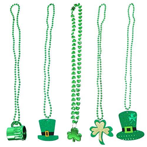 SOIMISS 5 Piezas de Collares de Día de San Patricio Collar de Trébol Verde Cadena de Cuello de Trébol Verde Sombrero Colgante Decoración de Ropa de Barbilla