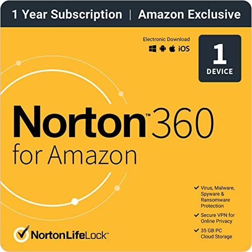 Norton 360 for Amazon 2021 Antivirus software for 1 Device with Auto Renewal product image