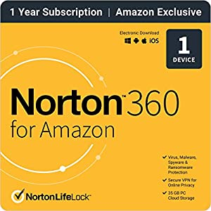 Norton 360 for Amazon – Antivirus software for 1 Device with Auto Renewal
