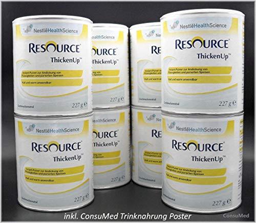 8x 227g ThickenUp von Nestle Health Science Andickungsmittel – Andickungspulver – im exclusiven ConsuMed Bundle mit Nahrungergänzungsmittel Übersicht im DIN A3 Posterformat