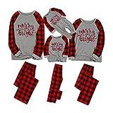 Pijama Navidad Familiar Mujer Hombre Niño Niña Bebé Invierno Conjunto Pantalones y Camiseta de Algodón Ropa de Dormir a Cuadros Pjs Romper Homewear Yvelands(Rojo,HM)