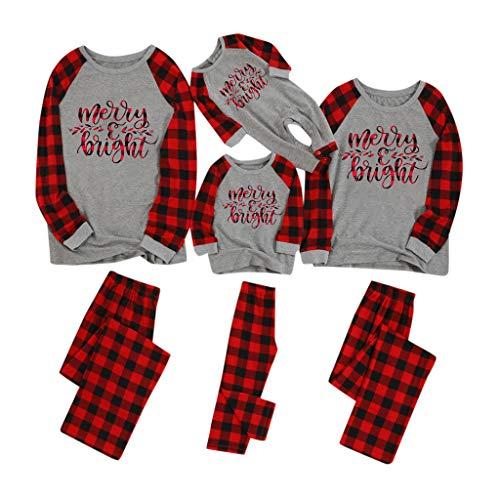 serliy😛Weihnachts Papa Mama Kinder Schlafanzüge,Gedruckt Brief Oben + Gitter Hosen Weihnachten Familie Kleidung Pyjamas Homewear Nachtwäsche Schlafoveralls