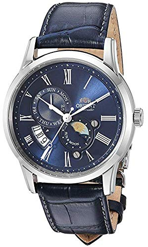 Orient Men's Sun and Moon Version 3 Stainless Steel Japanese-Automatic Watch with Leather Calfskin...
