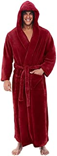 DEATU Mens Robes with Hood, Winter Fall Big and Tall Bathrobe Plus Size Pajamas Plush Lengthened Nightgowns Coat