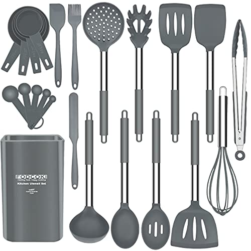 Silicone Kitchen Utensils Set for Cooking, 23 pcs Cooking Utensils Set with Stainless Steel Handle, Spatula, Holder, Kitchen Utensil Tools for Non-stick Cookware by FODCOKI, Gray
