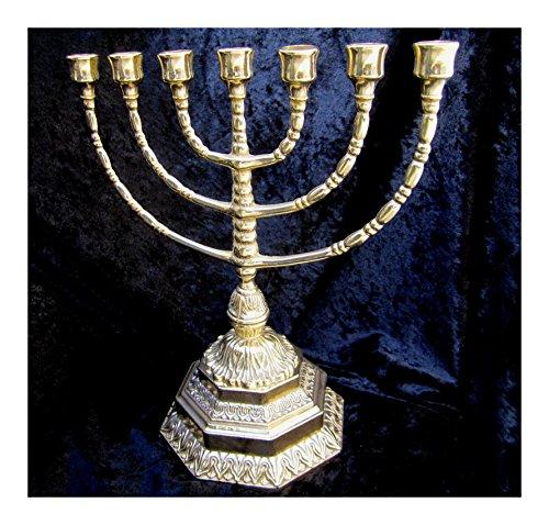 Ebraico 7 Arm Kandelaar Hebreeuws 100% Messing Joodse Menora 34 cm Hanukkia Menora 7-Arm Kandelaar