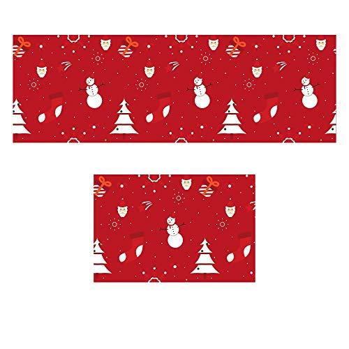 Non Slip Kitchen Mat - Set of 2 Christmas Kitchen Rugs for Hardwood Floors, Non Slip Bathroom Mats for Shower, Entranceway, Hallway, Desk, Anti Slip Laundry Rug, Office Chair Carpet Mat