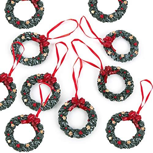 Lot de 10 pendentifs de Noël en forme de sapin de Noël Vert/rouge 6 cm