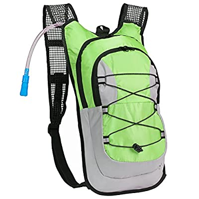 Equipped Outdoors Survival Hydration Pack - 2 Liter Water Bladder with Extra Large Storage Compartment, Green