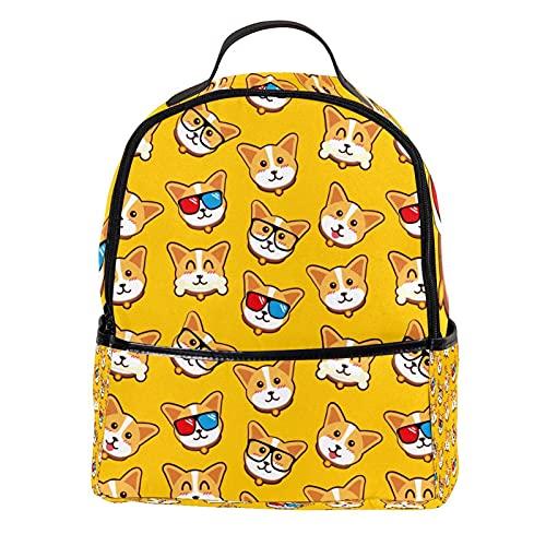 ATOMO Casual Mini Mochila Amarillo Perros Corgi Emoticones PU Cuero Viajes Bolsas de Compras Daypacks