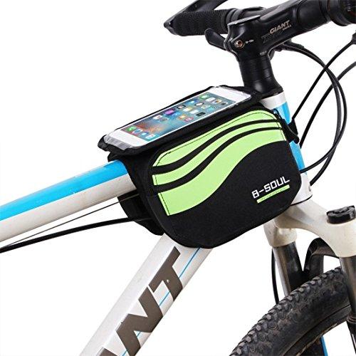 zjchao Bolsa Bicicleta Frontal 2-Lados alforja Delantera Bolsa de Manillar de 5.8 Pulgadas Móvil PVC Transparente Impermeable Bolso para MTB Bicicletas de montaña (Verde)