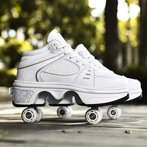 Barm Rollschuhe, Fashiums Deformation Rollschuhe mit farbigem LED-Licht Herren- und Damen-Skateschuhe Automatische Laufschuhe für Erwachsene Unsichtbare Riemenscheibenschuhe Skates mit zweireihig