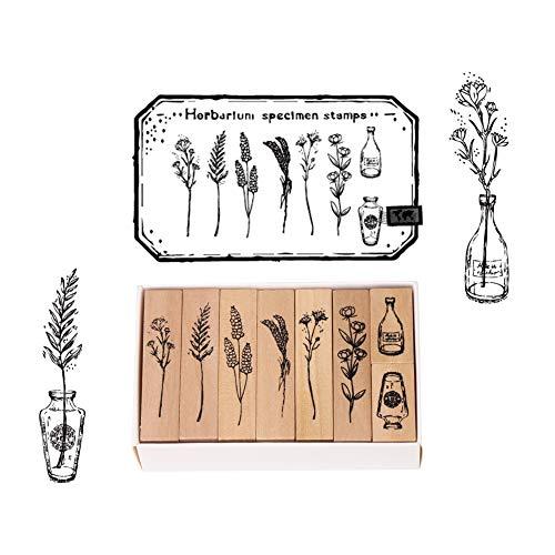 Stempel, Holzstempel zum Basteln, 8PCS Gummi Holz Vintage Holzstempel Hochzeit, Geschenkanhänger, Keksstempel Tischdeko, Natürliche Pflanze Seal Set, für Basteln, Schreibwaren Scrapbooking, Tagebuch