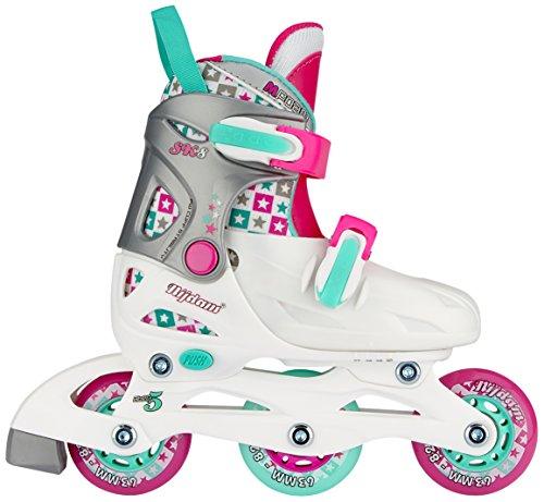 Nijdam Kinder SK8 Inline Skates Junior Adjustable • Hardboot •, White/Aqua/Fuchsia, 27-30