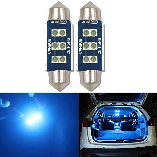 HSUN Festoon C5W - Bombilla LED de 39 mm, 12 V-14 V, sin errores, con chip SMD3030 de 6 ledes, para interior de coche, cúpula, lectura, mapa, maletero, luz y más, 2 unidades, color azul