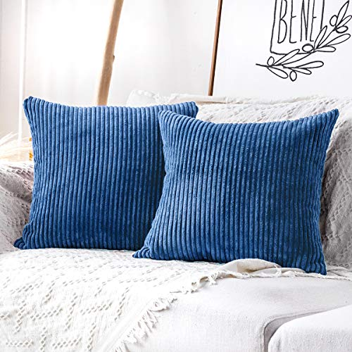 MUDILY One Piece Striped Velvet Decor Throw Pillow Covers Cushion Cover for Chair Supersoft Handmade Decorative Pillowcase for Sofa Bed Bench and Outdoor, Royal Blue 24 x 24 inch