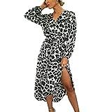Homebaby Abito Donna Eleganti Vestito Lungo Taglie Forti Vestito Manica Lunga Estate Capodanno Sposa Vacanza Feste Sera Stampa Leopardo Vintage Retro Abito da Ragazze Sexy Dress