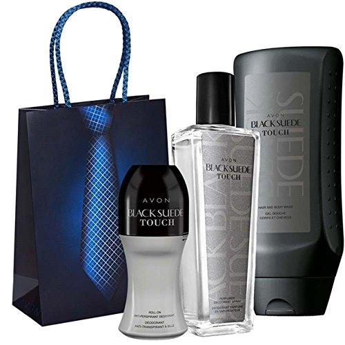 Avon Set Black Suede Touch Parfümierte Deospray in Glasflakon + Shampoo&Duschgel + Deoroller