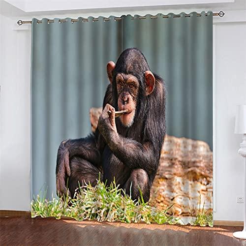 NQING Cortina De Poliéster con Función De Reducción De Ruido Y Sombreado De Impresión En Serie De Animales 3D, Adecuada para Sala De Estar, Cocina Y Dormitorio 2xAN107xAL160cm