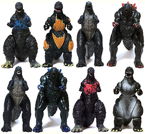 EZFun Set of 8 Godzilla Toys Movable Joint Birthday Kids 2019 Action Figures King of the Monsters Burning Heisei Mecha Ghidorah Pack Plastic Mini Dinosaur Playsets Cake Toppers Package