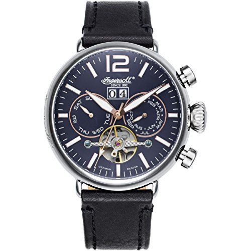Ingersoll Herren Analog Automatik Uhr mit Leder Armband IN1230BL