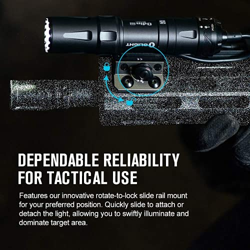 OLIGHT Odin Mini Weapon Light Max. 1250 Lumens Rechargeable Tactical Flashlight, Equipped with Removable Slide Rail Mount Gun Light, Powered by 18500 Battery Pistol Torch, Mlok Mount Included (Black)