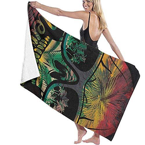 LisaArticles Strandhanddoek, koele schedel met zonnebril, Hawaii, badhanddoek, strandkleed, sneldrogend, handdoek, voor reizen, zwemmen, zwembad, yoga, camping, gym, sport