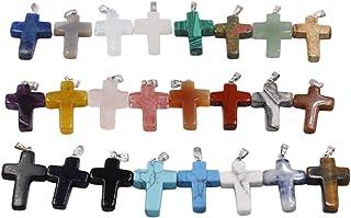 SUPVOX 30PCS Cross Pendant Charm Cross Gemstone Pendants Sets Cross Jewellery Charm DIY Necklace Pendant Accessories