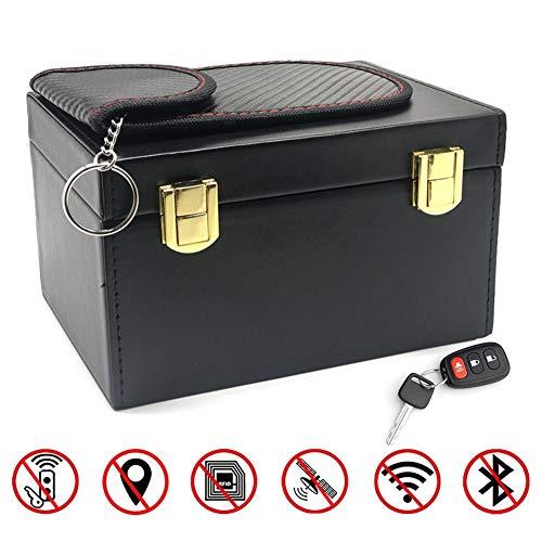 GUHIMO Anti Diebstahl Faraday Box, Auto Sicherheit RFID-Telefone Karten Anruf Faraday Abschirmbox Protector Blocker Aufbewahrungsbox Keyless Entry Car mit einem Beutel Tasche Cover Holder Key Fob