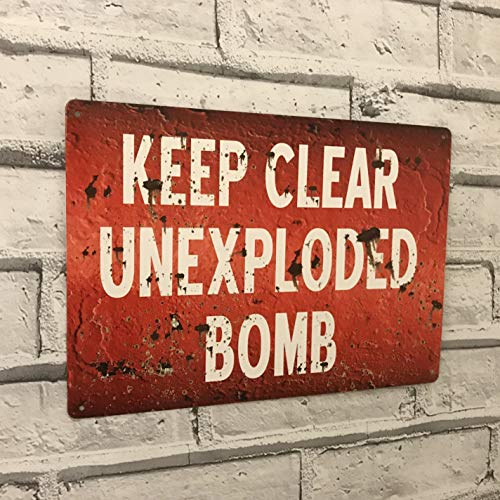 Ainiteey Tin Sign Keep You Free Unexplodited Bomb Vintage Reproduction WW2 War Metal Wall Sign Man Cave Shed Garage 20 x 30 cm