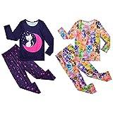Little Girls Pj Set Cat Pajama Cotton Fall Winter Kitty Sleepwear,Size 6 7