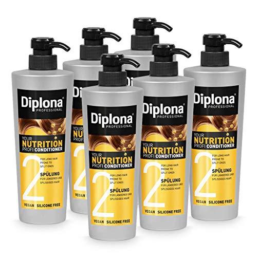 DIPLONA Acondicionador para cabello más largo y abierto, tu acondicionador profesional para mujeres, vegano, sin silicona ni parabenos, 6 unidades de 600 ml