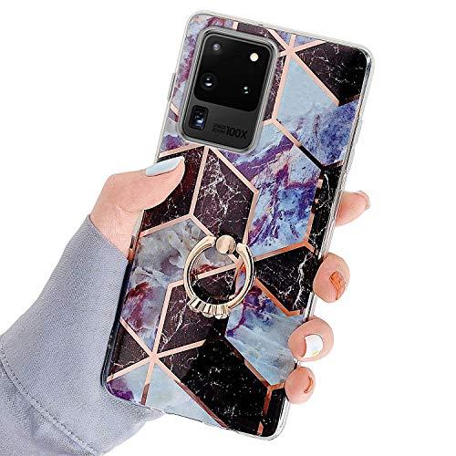 Herbests Kompatibel mit Samsung Galaxy S20 Ultra Hülle Bunt Marmor Muster TPU Silikon Handyhülle Glänzend Bling Glitzer Diamant Strass Ring Halter Ständer Crystal Case Tasche Schutzhülle,Braun