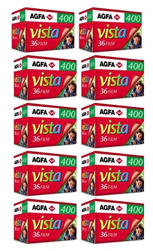 AgfaPhoto Vista plus 400 135-36 Negativ Film für Papierbilder (10-er Packbis zu 360 Aufnahmen)