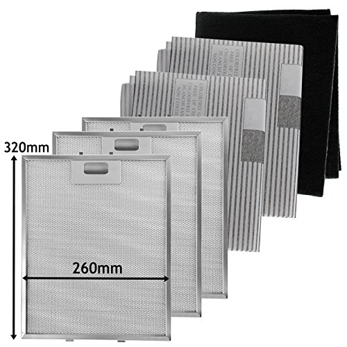 SPARES2GO metalen gaas, koolstof + vetfilters voor afzuigkap/afzuigkap (320 x 260 mm, 6 stuks)
