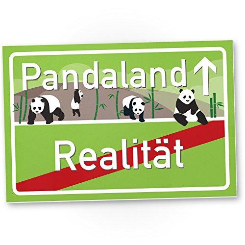Pandaland - Panda Kunststoff Schild, kleines persönliches Geschenk für sie - süße Deko, Wanddeko Schoko, Türschild Mädchen Wohnung / Zimmer, Geschenkidee Geburtstagsgeschenk Freundin, Party Deko