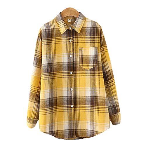 AKlamater KKSH Damen Plaid Shirt Kariert Bluse Langarm Weibliche Casual Print Shirts...