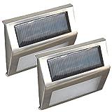 COM★MI-LIGHT-7A-ホワイト◆太陽光パネル搭載 夜間自動点灯 階段などに設置できる LEDライト 2個セット