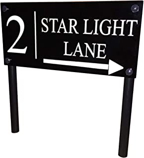 FREESTANDING Modern House Sign Door Number Address Plaque Ground Stake Lawn Sign Gloss Black 'Large Plaque'