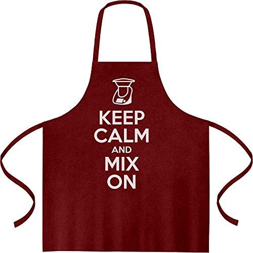 ENDLICH ALS SCHÜRZE Keep Calm and Mix On - Motiv für Thermomix Liebhaber Top Qualität Kochschürze, Grillschürze, Latzschürze One Size Bordeaux