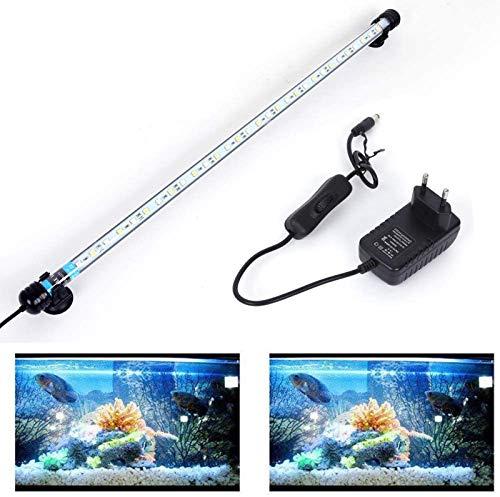 SolarNovo 18-112cm LED Aquarium-Licht Unterwasser BeleuchtungAufsatzleuchte Abdeckung Wasserdicht Lampe Stecker EU für Fisch Tank mit Fernbedienung RGB Farbwechsel (1.8 * 57cm, Weiß & Blau)