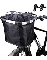 Haoliving Bike Basket with Bells, Folding Small Pet Cat Dog Carrier Bicycle Front Basket, Quick Released Picnic Shopping Bag, Easy Install Bicycle Handlebar Basket (Letter Pattern)