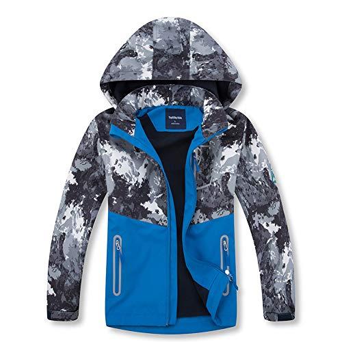 TBATM Camouflage-Mantel Für Jungen Und Mädchen, Kinder-Softshell-Jacke Mit Reißverschluss Wasserdichter Atmungsaktiver Kapuzenpulli Für Laufen Radfahren Camping Und Reisen,Grau,110cm